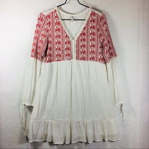 Xhileration Boho White Dress With Red Embroiderey